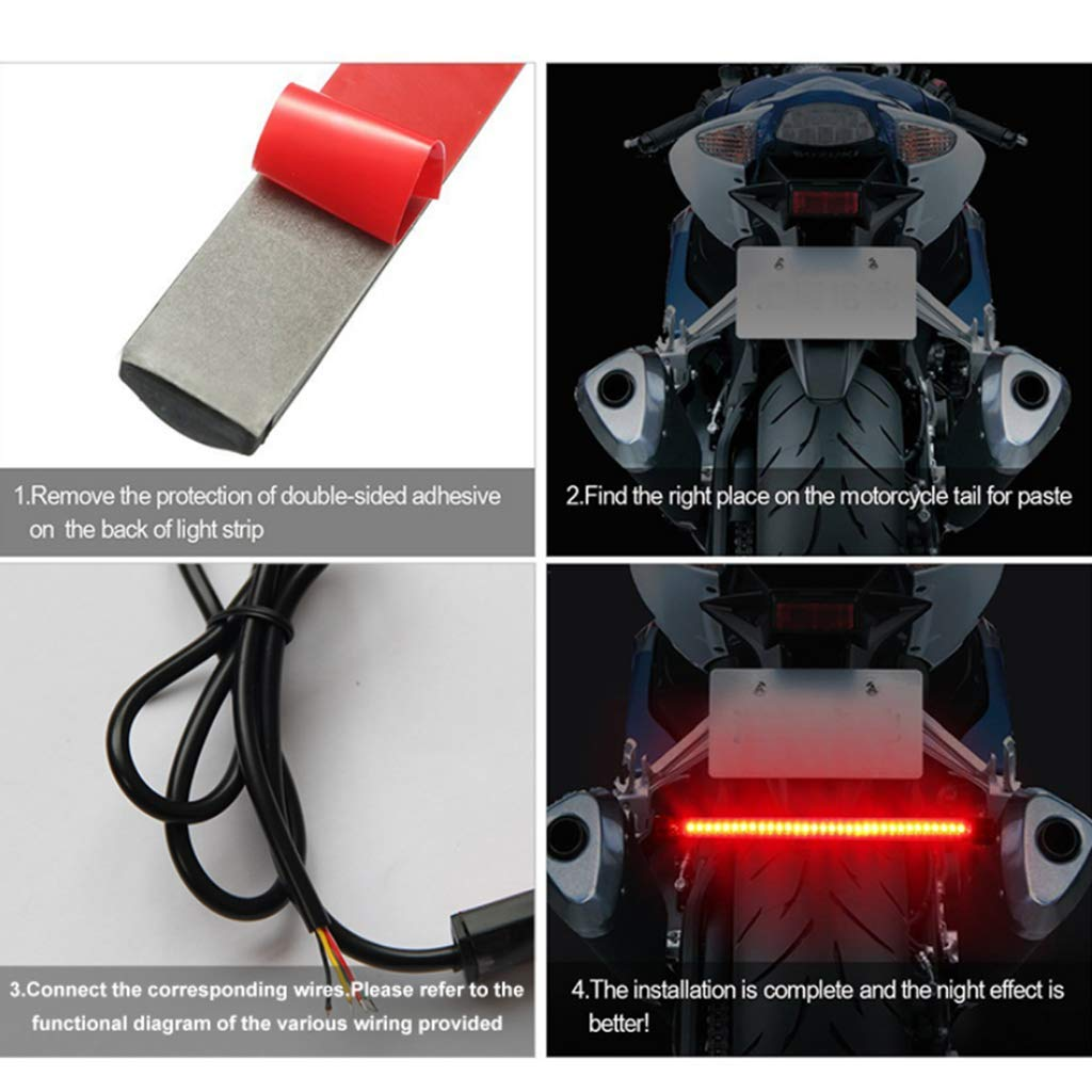 Shiwaki Flessibile IP65 Impermeabile Integrato Coda Di Arresto Del Freno Segnale Di Svolta 48 LED 8 Pollici Lunghezza Barra Luminosa Per Moto