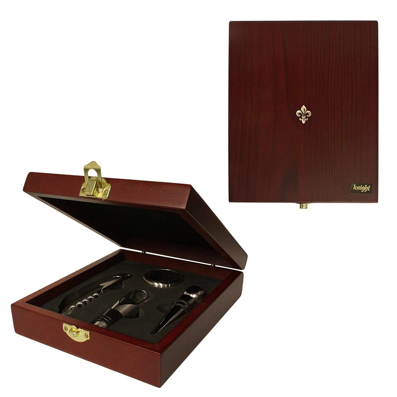 Fleur de lis 4 piece wine accessories gift set