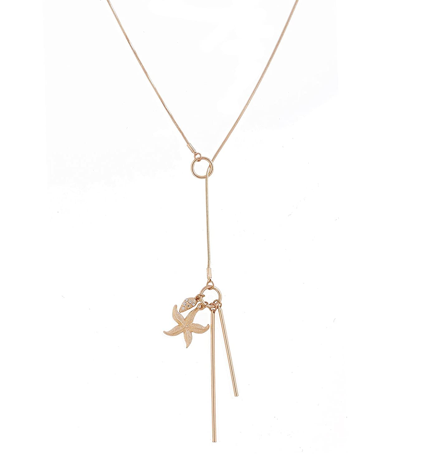 YEYA Lariat Bar Leaf Starfish Pendant Necklace Open Circle Y Necklace Charm Rhinestone Adjustable Long Necklace for Woman Girls B07FGF24TT_US
