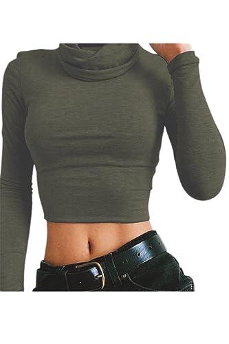 Las Mujeres De Cuello Alto Manga Larga Crop Top Bodycon T Shirt Blusas Tops
