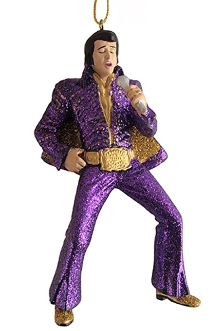 "4.5"" Elvis Presley in Sparkling Purple Suit Christmas Ornament - 4.5"