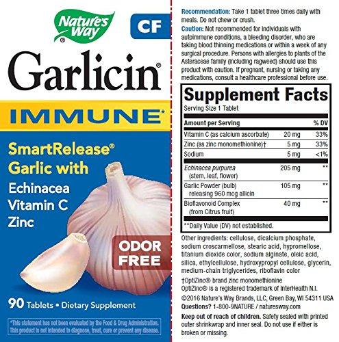 Natures Way Garlicin CF Immune 90 Tablets. Pack of 4
