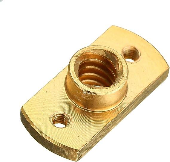 ILS 2 Piezas lat/ón T8 Plomo Tornillo Tuerca Paso 2 mm para Parte Impresora Motor Paso a Paso 3D