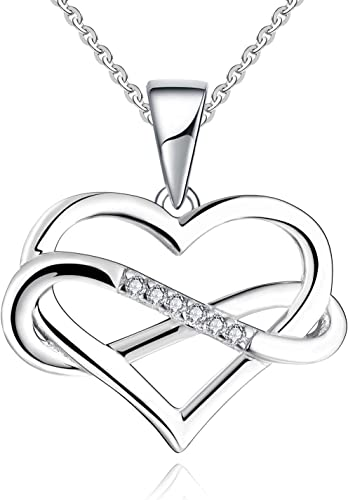 Sterling Silver Forever Love Heart Infinity with Cubic Zirconia Pendant Necklace