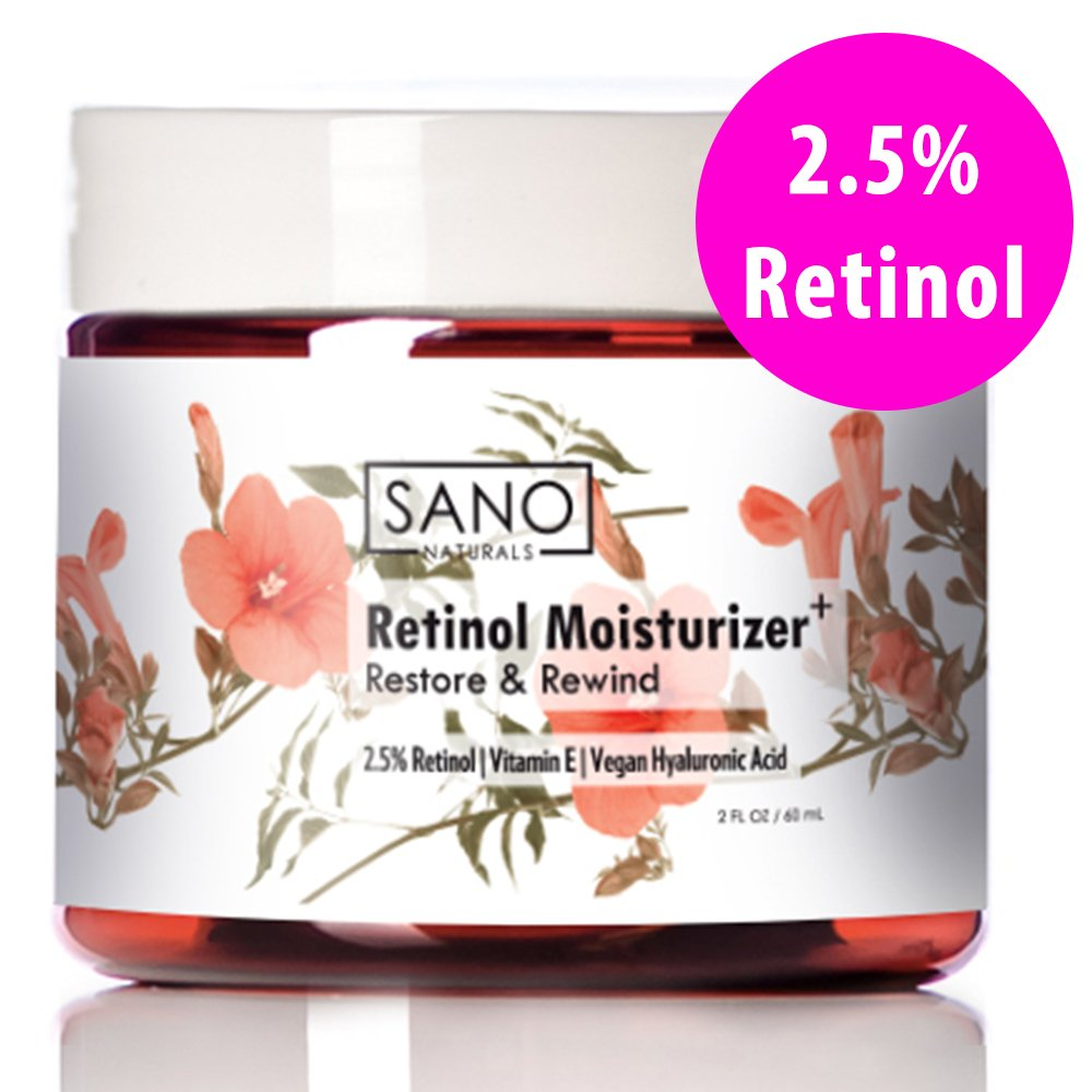 Retinol Cream 2.5% Moisturizer with Hyaluronic Acid. Best for Anti Wrinkle, Anti Aging Skin Care and Marks. Helps with Acne and Firming. Day or Night Facial Lotion for Men or Women.