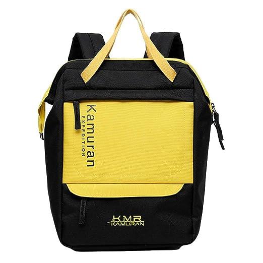 Mode lienzo mochila niñas ordenador portátil mochila cartables Desigual, amarillo, L(Taille: