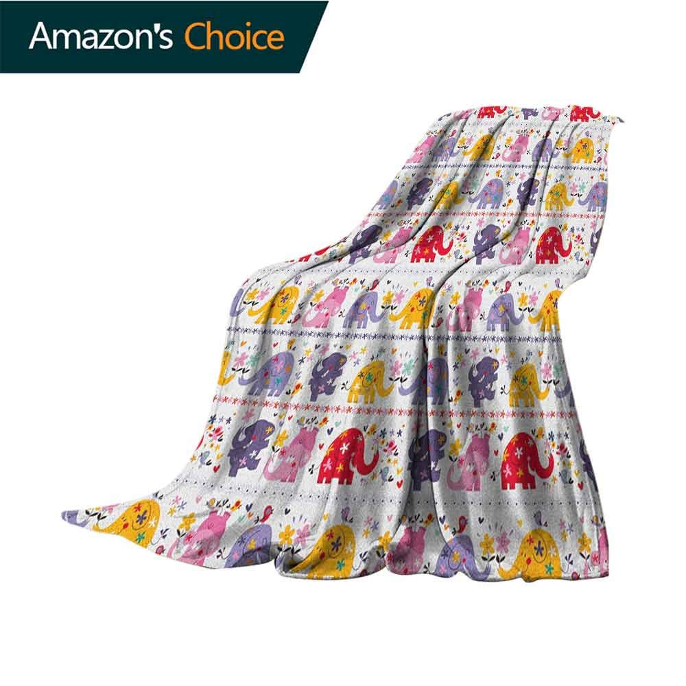 Kids Flannel Throw Blanket,Dancing Floral Elephant Characters Smiling Faces Colorful Daisies Happy Singing Birds 300GSM,Super Soft and Warm,Durable Throw Blanket,70'' Wx90 L Multicolor by Custom&blanket