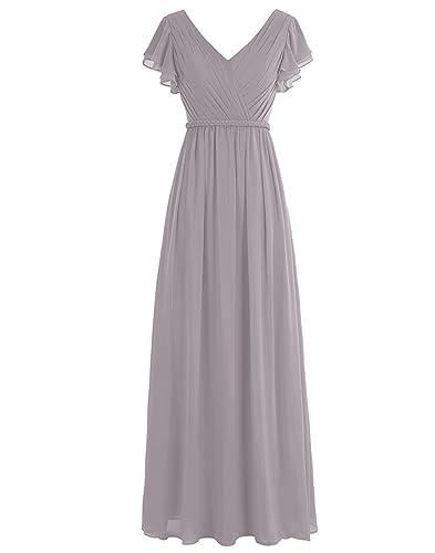 WenSai Women Pleated Long Bridesmaid Dresses Chiffon V Neck Cap Sleeves WS002