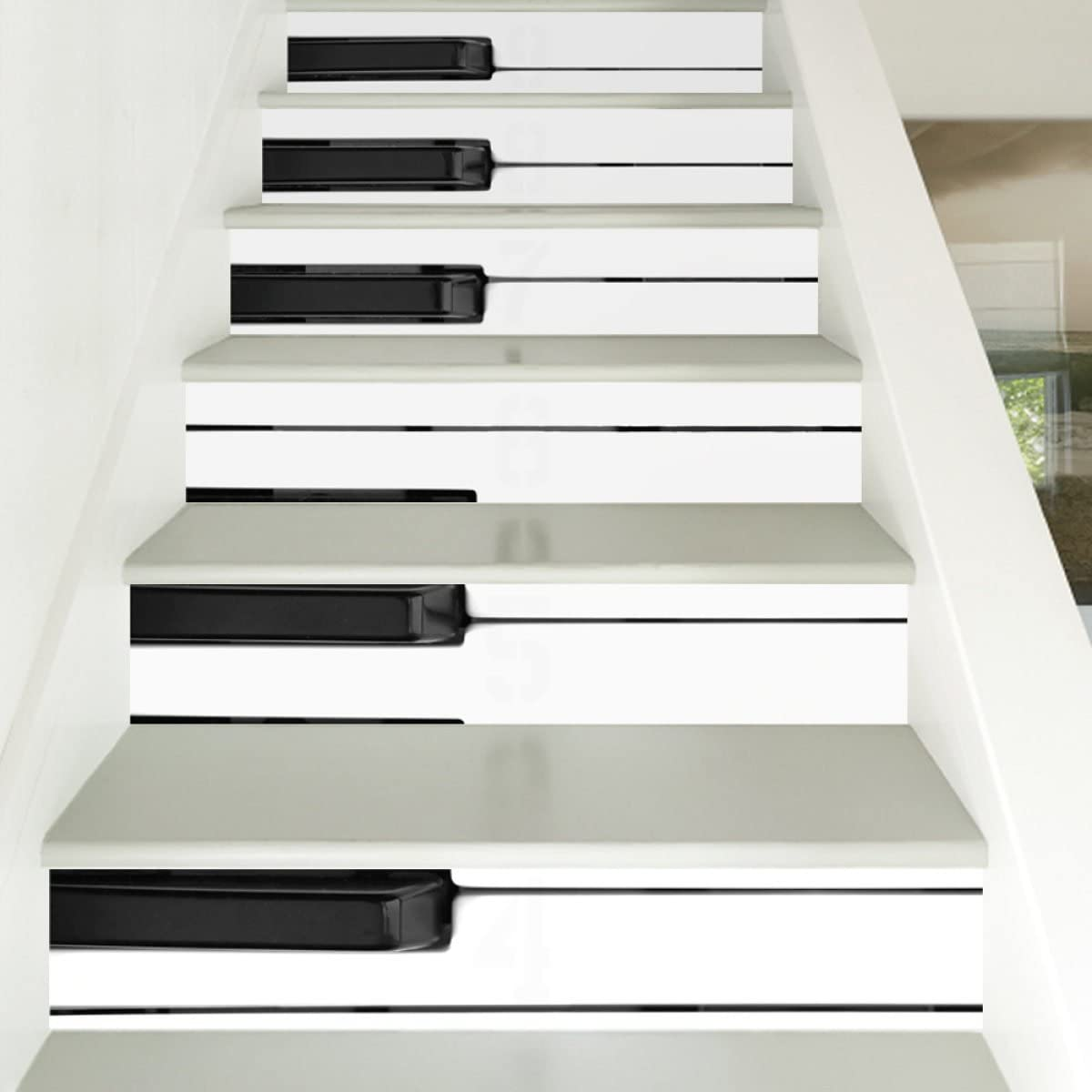 QTZS Escalera 3D Blanco Y Negro Teclas del Piano Escalera Decorativa Impermeable Pegatinas 6 Unids: Amazon.es: Hogar