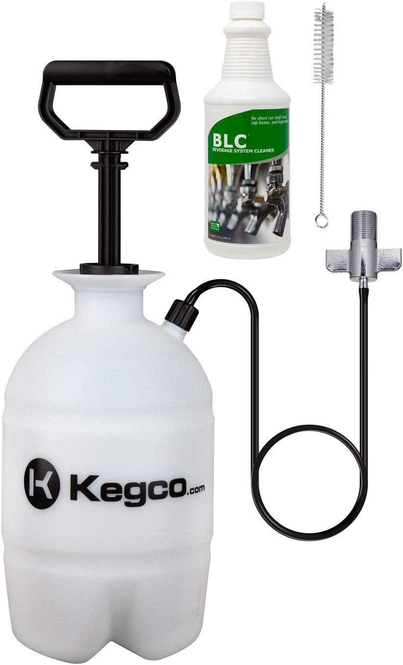 Kegco Deluxe Hand Pump Pressurized Keg Beer Cleaning Kit with 32 Ounce National Chemicals Beer Line Cleaner,Black