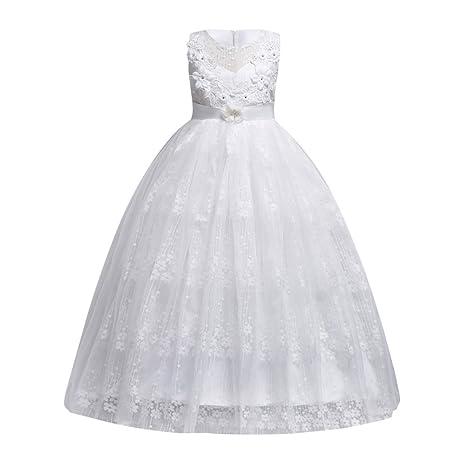Fiesta de boda de la flor de la niña bordada Tulle volante del desfile del vestido