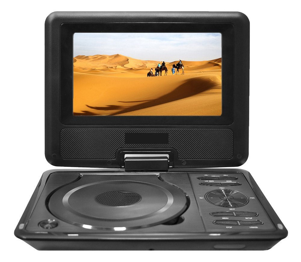 Lectronify LEDH9 9'' Widescreen High Resolution Portable Monitor w/ Built-in DVD, MP3, MP4 Players, USB Port & SD Card Slot Readers