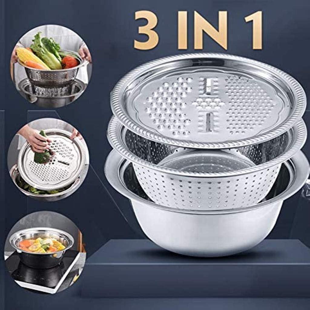 Salad Maker Bowl 11 Inch S Steel 3 in 1 Kitchen Multipurpose Julienne Grater