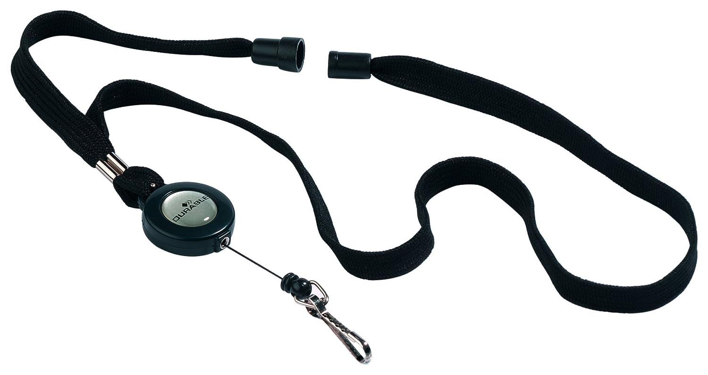 DURABLE 822301 - Chiocciola yo-yo con cordoncino e gancio in metallo, sgancio di sicurezza antisoffocamento, nero, confezione da 10 pezzi 8223/01