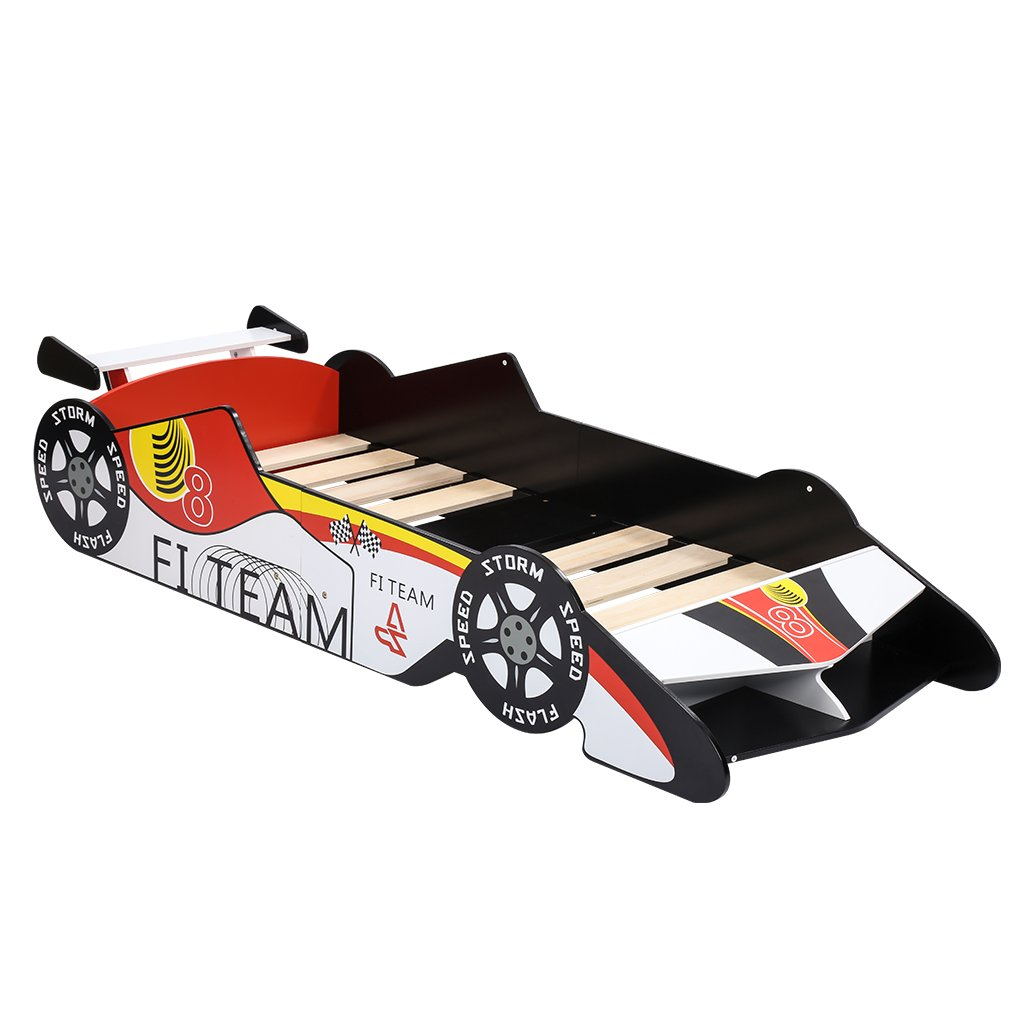 LANGRIA Toddler Race car Themed Bed F1 Car Design (Red, White, Black)