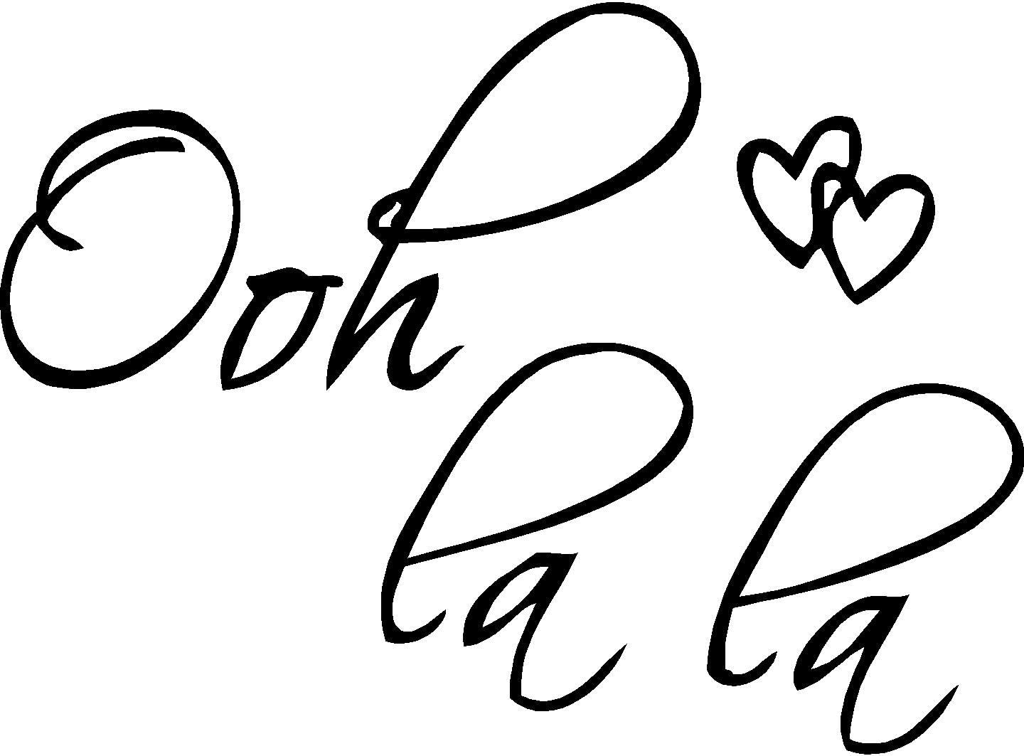 "Picniva Black 22"" X 14"" OOH LA LA Paris France Hearts Love Quote Vinyl Wall Decal Decor Art Sticker"