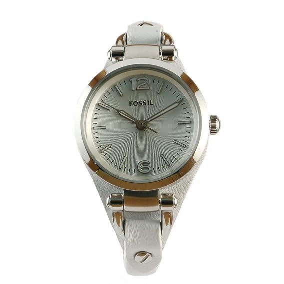 Fossil ES3267 - Reloj analógico de cuarzo para mujer con correa de piel, color blanco: Fossil: Amazon.es: Relojes