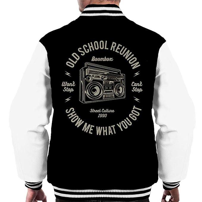 Fun Cool Vintage Boombox Old School Reunion Mens Varsity ...