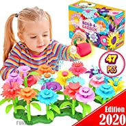 FunzBo Flower Garden Building Toys for Girls - STEM Toy Gardening Pretend Gift for Kids - Stacking Game for To