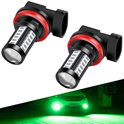 H8 H9 H11 LED Fog Light Bulbs DRL 2800 Lumens Xtreme Super Bright 5730 33-SMD 12V LED Bulbs Replacement for Cars, Trucks, 6000K Xenon green: Automotive