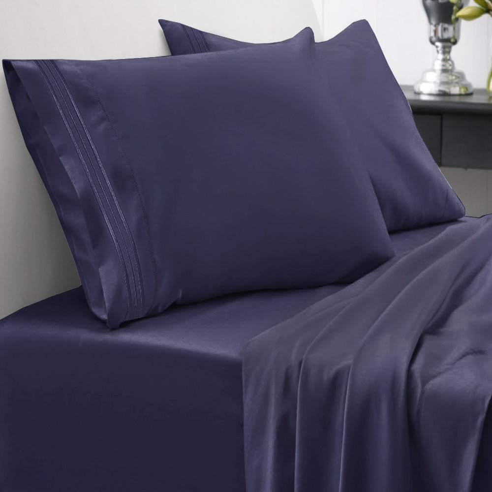 Sweet Home Collection 1800 Thread Count Bed Sheet Set Egyptian Quality Brushed Microfiber 4 Piece Deep Pocket, RV Short Queen, Navy
