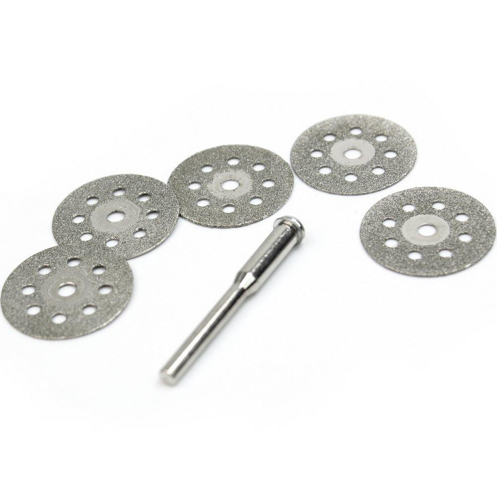5 x Disque diamant Coupe de Diamant matériaux 22 mm + 1 x Mandrin en Acier au