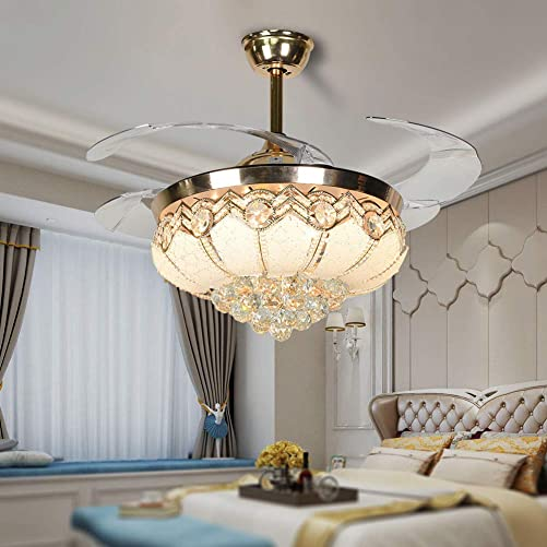 Sky Demons 42Inch Modern Crystal Fandelier LED Chandelier Ceiling Fans Light