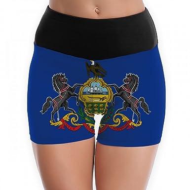 Amazon.com: Womens Flag of Pennsylvania Yoga Shorts Workout ...