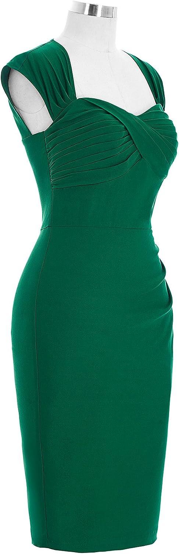 Belle Poque Retro El/ástico L/ápiz Vestido Sin Mangas y Hueco Espalda Vestido Esbelto Bodycon Vestido BP155