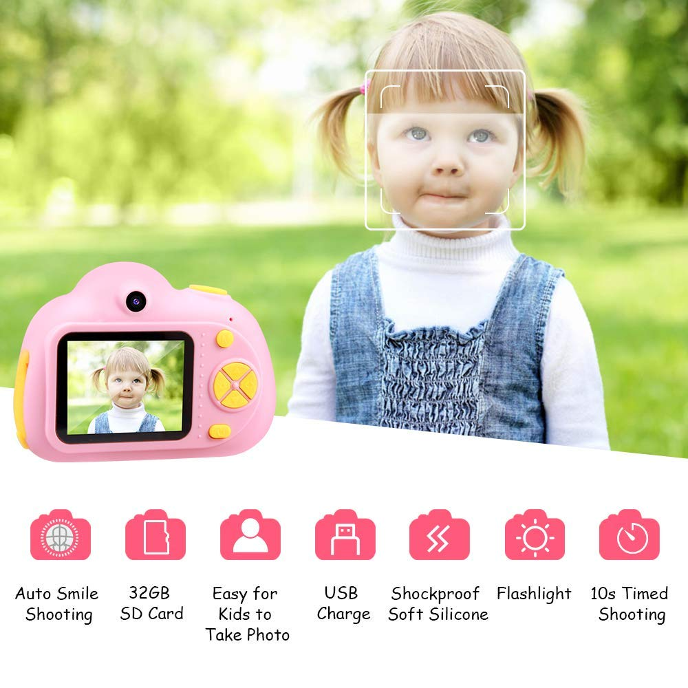 SHCY Best Gift for 3-8 Year Old Kids, Kids Camera for Girls, Outdoor Toys for 4-7 Year Old Girls Boys Children,8MP HD Video Camera, Pink(32GB SD Card Included) by SHCY (Image #4)