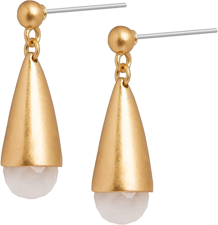 SENCE Copenhagen – Pendientes de mujer de oro – Summer Light 2020 Serie Rainbow Earrings Pendientes con colgante Jadeperle latón mate chapado en oro – EL770g