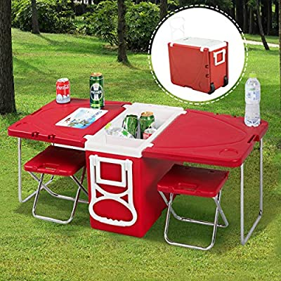 Fine New Multi Function Rolling Cooler Picnic Camping Outdoor W Table 2 Chairs Red By Zavrotsky Forskolin Free Trial Chair Design Images Forskolin Free Trialorg