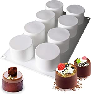 Tall Cylinder Silicone Molds for Baking Mousse Cake, 3D Silicone Baking Molds for Cakes, Brownie, French Dessert Mold for Pastry, Ice Cream, Cake Decoration Mold, Tall Cylinder Shape (8-Cavity)