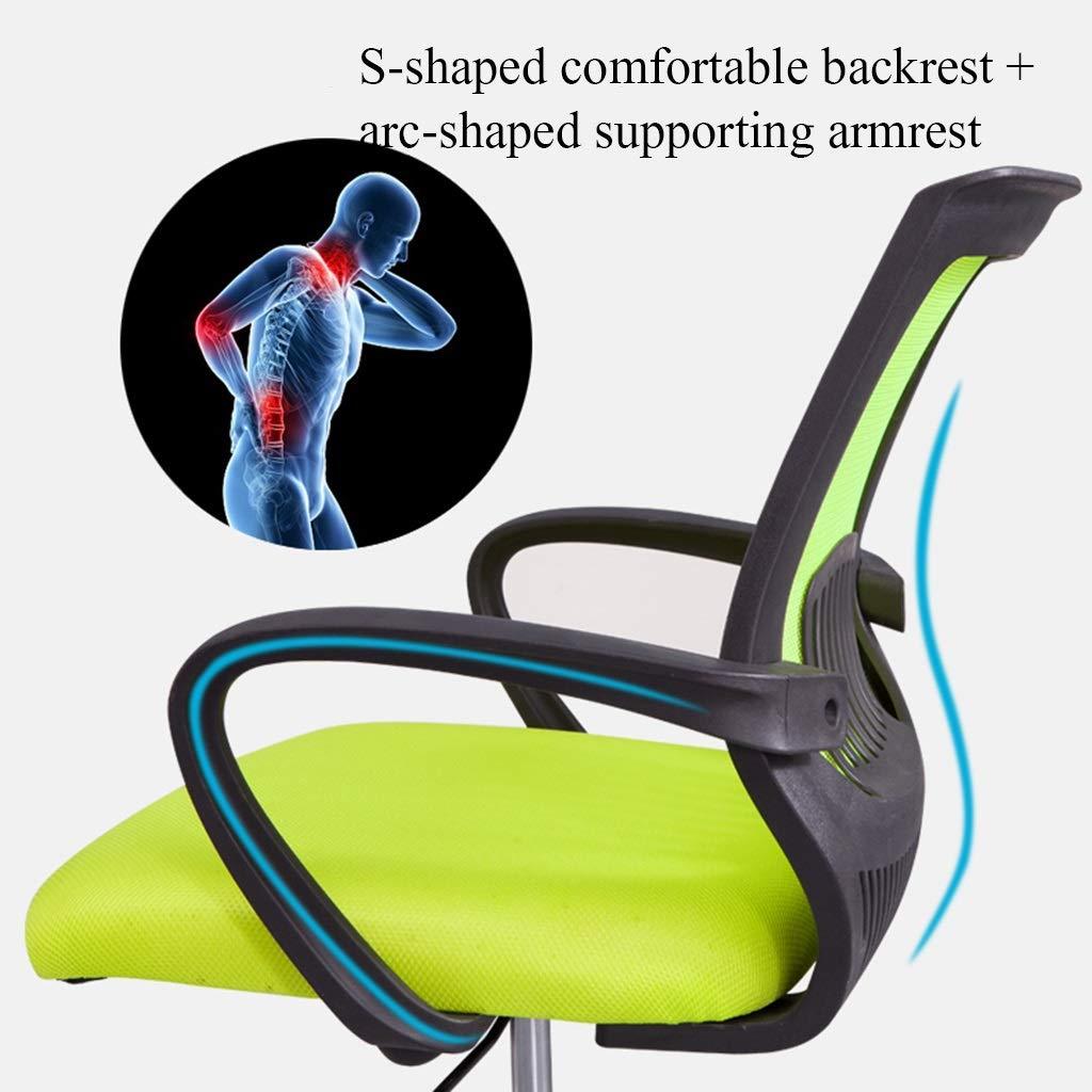 YYL kontorsstol kontor datorstol, justerbar höjd konferensrum träningsstol, enkel latexkudde svängbar stol med hjul svängbar stol (färg: Grön) Svart