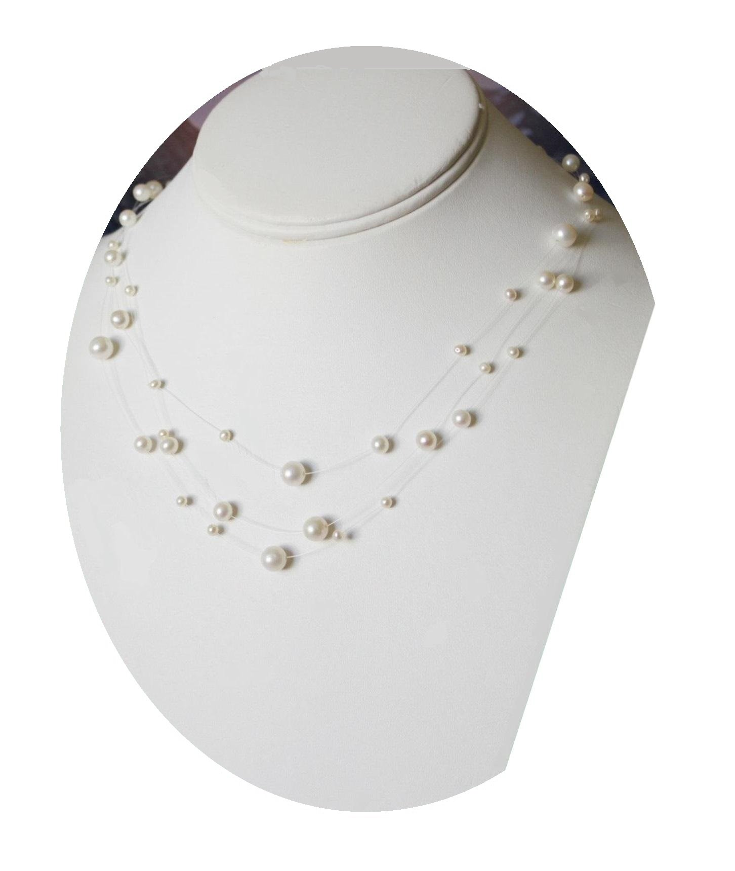 Christina Collection Multi-strand Pearl Illusion Necklace Set Floating Boxed (White) #186