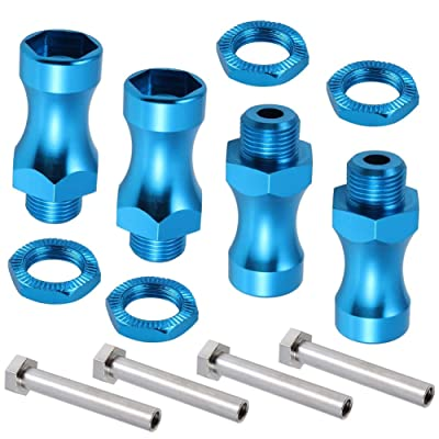 12mm to 17mm Aluminum Hex Wheel Hubs Adapter Extensions (30mm) for Upgrade 1/10 to 1/8 RC Vehicle Tires (Blue, Set of 4): Toys & Games