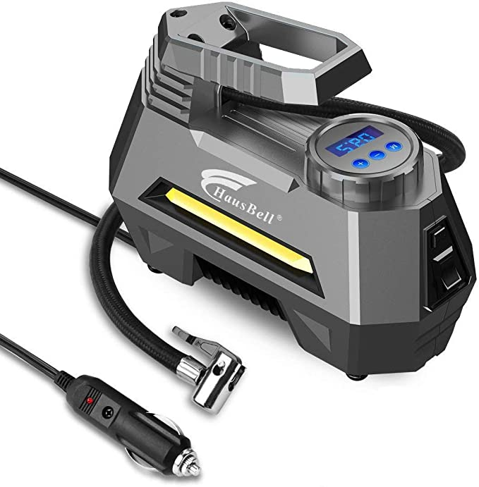 HAUSBELL Portable air Compressor for Car Tires, 12V DC Air Compressor tire inflator Pump
