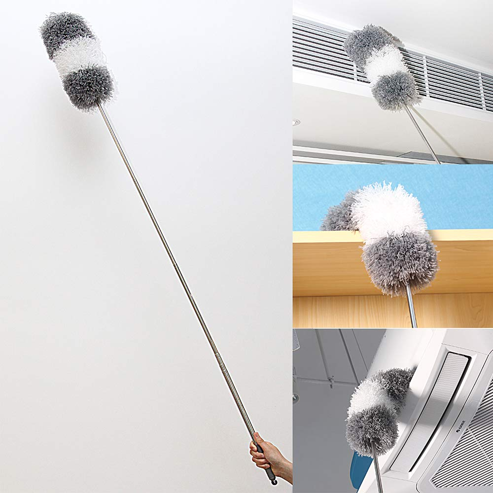 BOOMJOY Extendable Microfiber Duster, Telescoping Stainless Steel Pole, Detachable Bendable Head, Washable, 96.5'' by BOOMJOY