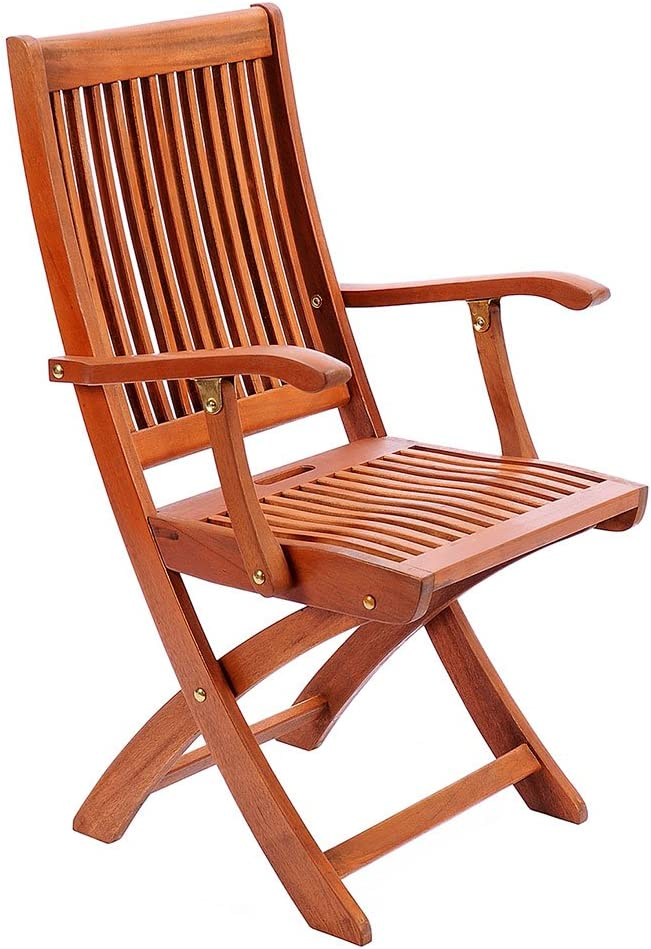 Achla Designs Eucalyptus Wood Indoor Outdoor Folding Chair with Arms