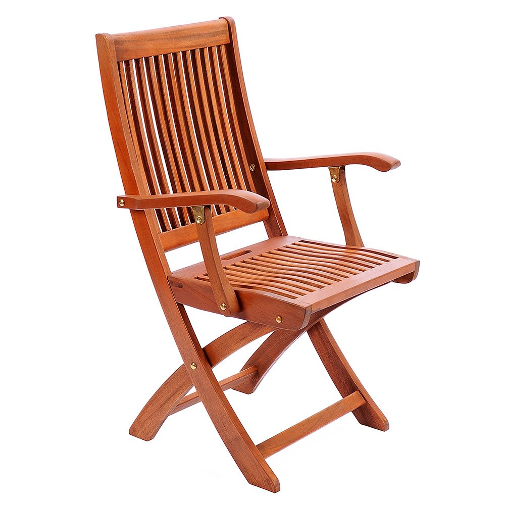 Amazon com achla designs eucalyptus wood indoor outdoor folding chair with arms patio dining chairs garden outdoor