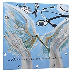 3dRose Angel Hands and Wings with Nurses Prayer - Wall Clock, 10 by 10-Inch (DPP_223365_1)