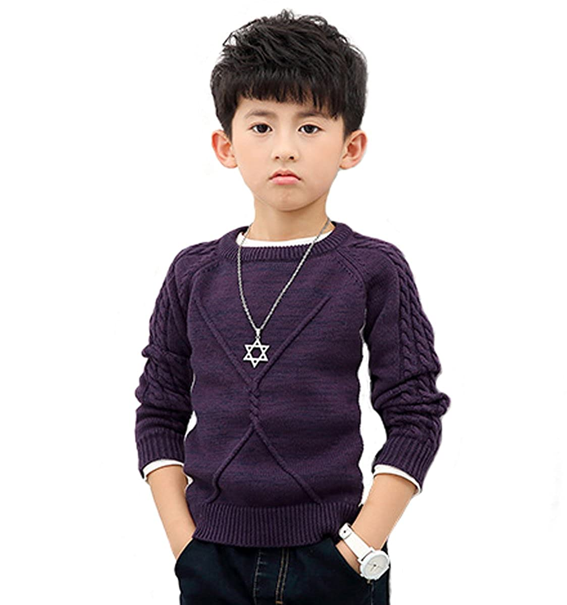 NABER Kids Boys' Long Sleeve Knitwear Crewneck Pullover Sweaters Size 4-13 Years