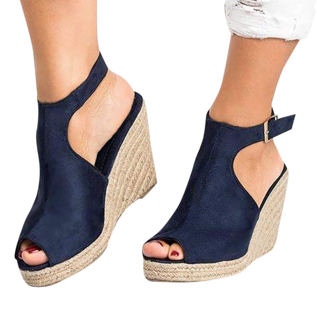 Amlaiworld Women Wadges Sandals Fashion Solid Casual Buckle Strap Roman Shoes Sandals Heels Shoes Dark Blue by Amlaiworld