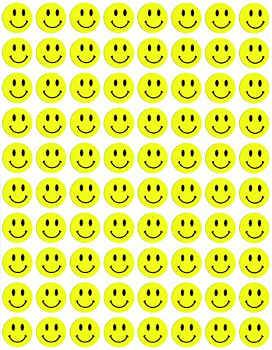 - Hygloss Products Happy Smiley Face Yellow Dot Stickers - 240 Labels - 1/2 Inch, 3 Sheets
