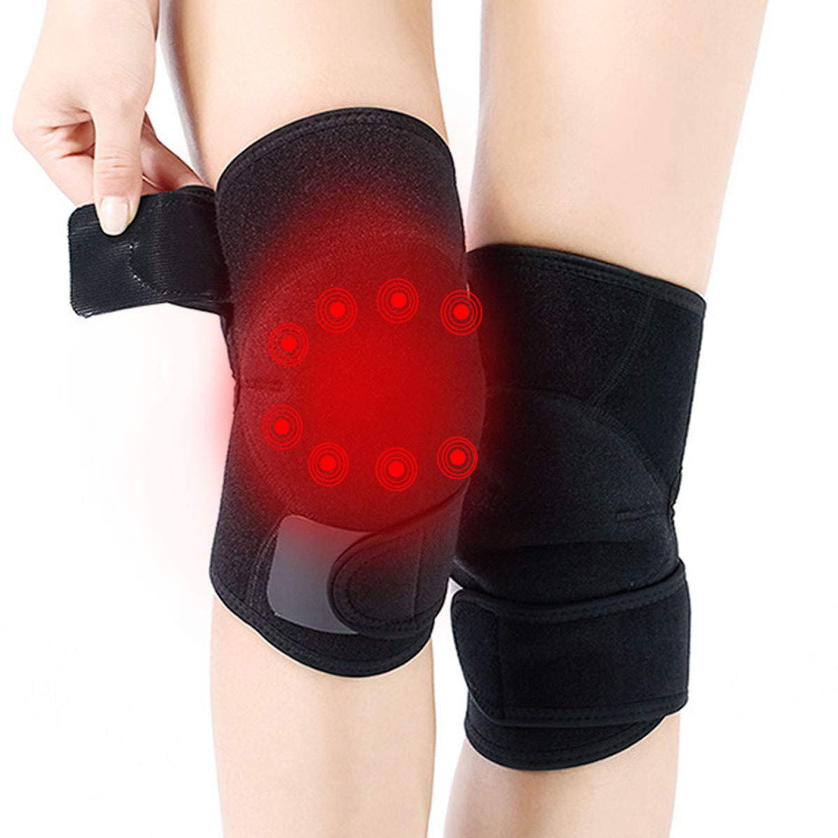 Self-heating Tourmaline Knee Brace | 1 Pair, with Magnet, for Men and Women, Help the Injuries Recover, Relieve the Pain, keep Warm for Knee, Thermal Therapy .