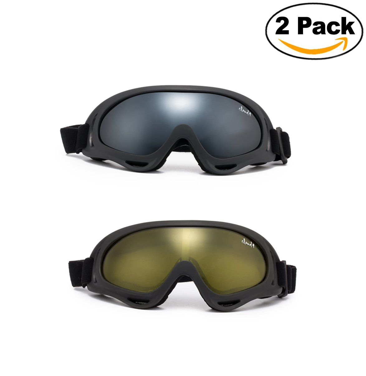 Cloud 9 - Safety Goggles ''Moto'' Motorcycle Sports Interchangable Lenses UV Protection Multicolor Mirror Night Vision