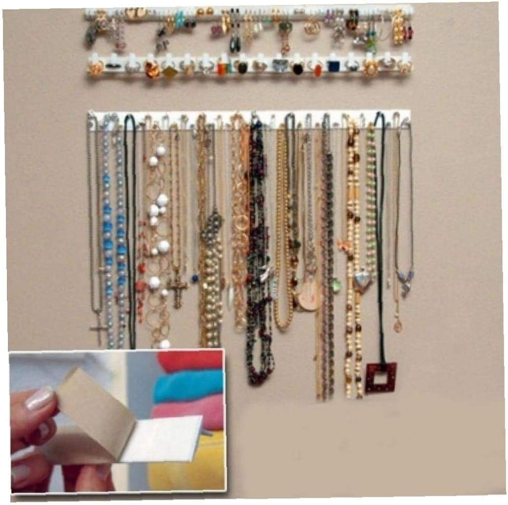 9 /À 1 P/âte Adh/ésive Tenture Crochets De Rangement De Bijoux Affichage Organiseur Collier De Suspension Organiseur Maquillage