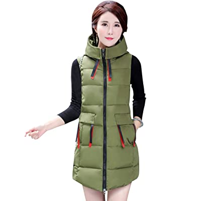 CUKKE Women's Outdoor Hooded Puffer Long Down Vest Windproof Outerwear