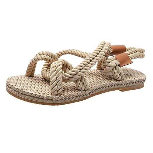 b84b3d6c3 WFeieig Women s Sandals Large Size Hollow Flat Shoes Low Low Sandals Grass  Woven Sole Beach Shoes