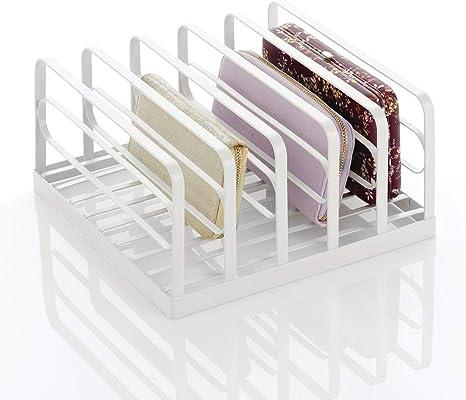 Geldb/örsen mDesign Clutch Organizer Portemonnaie Ablage aus Kunststoff praktische Handtaschen Aufbewahrung mit 5 F/ächern f/ür Clutches Kartenetuis etc Graphit